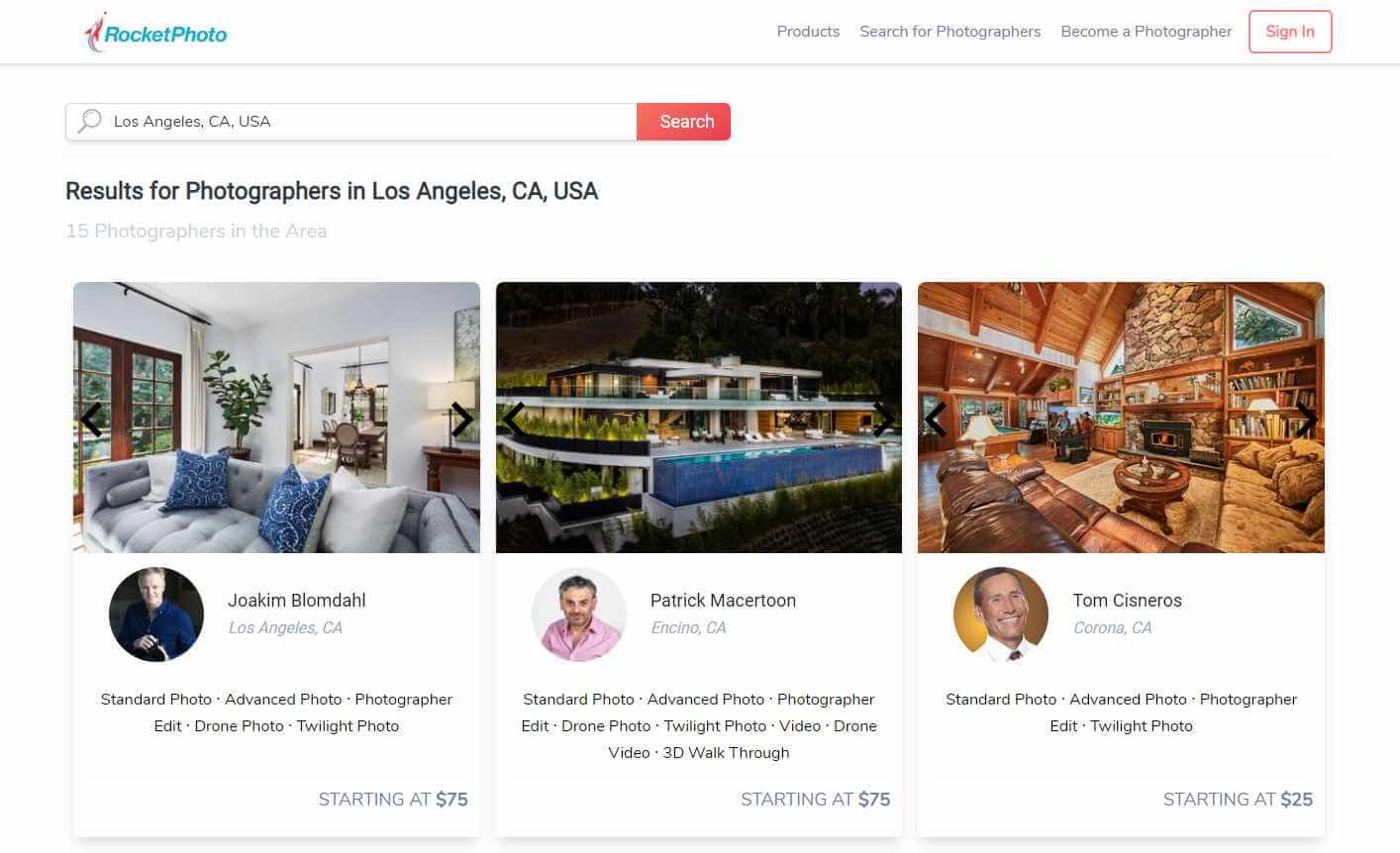 Find Real Estate Photographers Demo | Rocket Photo